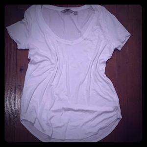 Athleta white ribbed scoop neck top